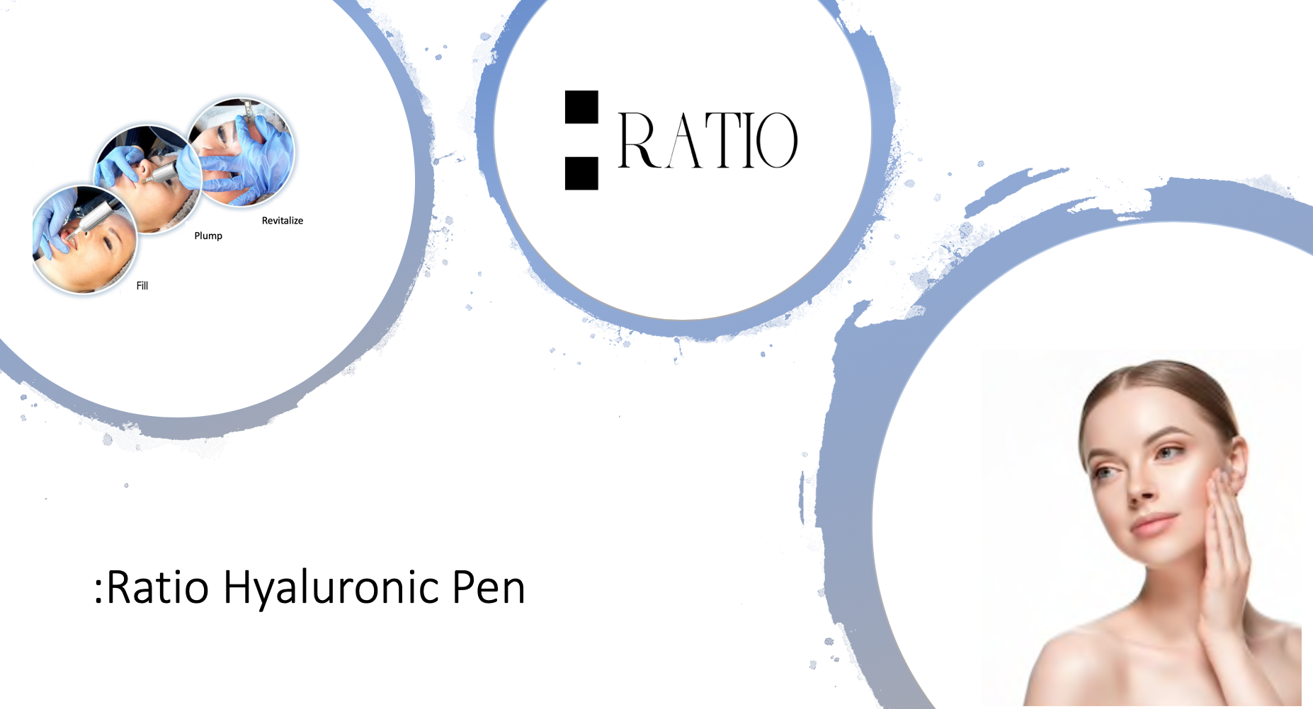 Ratio Hyaluronic Pen logo and image of use of filler pen